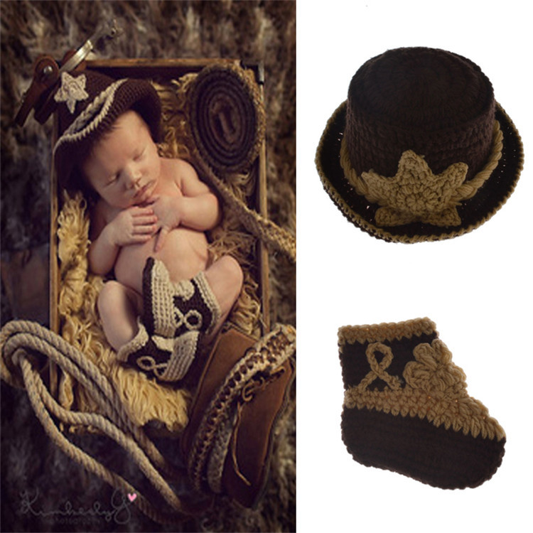 2017 new to baby cowboy hat crochet baby baby photo props knitted hat children hat cotton photo company hat(China (Mainland))