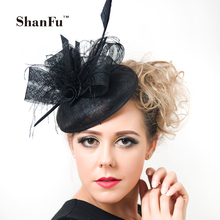 ShanFu Women Purple Cocktail Fascinators Hat Sagittate Feather Wedding Hats with Net Women Hair Acesories SFC12319