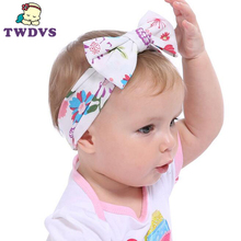1PC Children Headwear Baby Large Bows Flower Headband Bottom Age Cotton Head Wrap Baby Hair Band Girls Hats Hair Accessories(China)