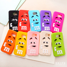 3D Cute M&M's chocolate candy cartoon Silicone Phone Case Back Cover For Samsung Galaxy S3 S4 S5 MINI S6 S7 Edge S6 Edge Plus S8
