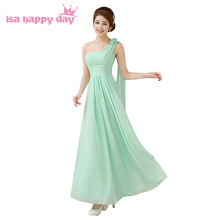 mint green chiffon women one shoulder bridesmaid long formal dresses for girls a line plus size dress wedding under 100 H1535