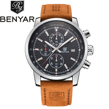 Benyar Men's Watches Best Luxury Brand Men Leather Waterproof Sport Chronograph Quartz Military Wrist Watch Men's Watches montre
