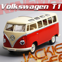 New arrive 1pc 1:24 17.5cm KINSMART delicate red microbus van bus simulation model alloy car home decoration gift toy