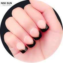 2016 New Fashion 24Pcs Faux Ongles French Tips High Quality Black And Gold Glittle Short Fake Nails nep nagels met lijm Beauty