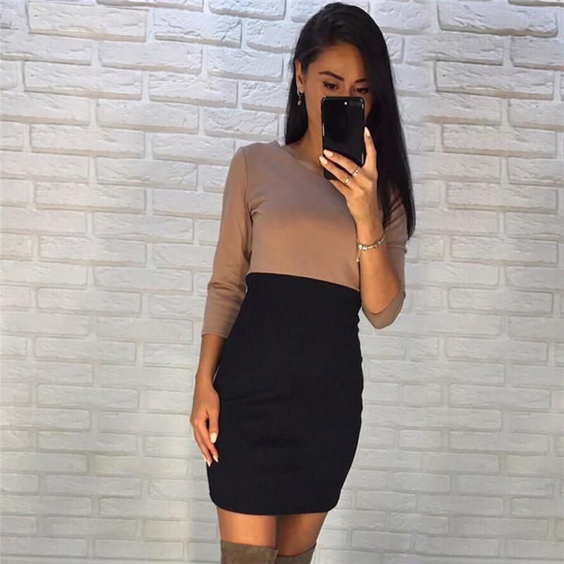 Rose-petunie-2017-autumn-fashion-kaki-and-black-patchwork-dresses-sheath-3-4-sleeve-o-neck