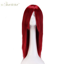 "SNOILITE 24"" 60cm Long Cosplay Wig Wine Red Party Dress Halloween Synthetic Heat Resistant Full Hair Wigs(China)"