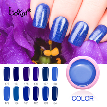 173-184 Soak Off Painting Gel 6ml Pure Colors Solid LED/UV Gel DIY Nail Art Design Paint Color Gel Nail Varnish Dark Blue Series(China)