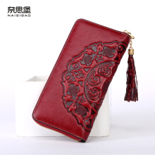 Chinese style Genuine Leather women Clutch Wallet fashion pattern cards holders brand womens wallets and purses free shipping(China)
