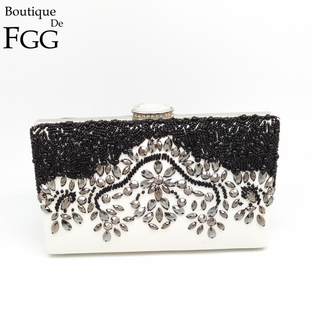 Elegant Women Cocktail Dinner Wedding Bridal Black &amp; Silver Beaded Diamond Shoulder Handbag Metal Clutch Bag Ladies Evening Bags<br><br>Aliexpress