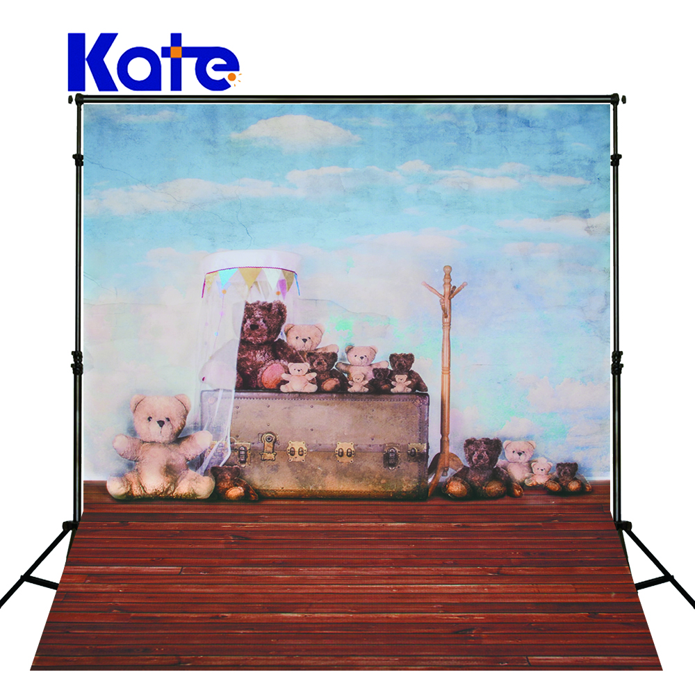 Kate Photography Backdrop Baby Christmas Wallpaper Wood Floor Backgrounds For Photo Studio Blue Sky Background<br>