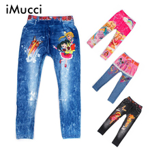 iMucci Cute Girls Digital Printing Kids Pants Baby Cartoon Jeans Pattern Leggings Girl 4-8Y Unisex Children Trousers Flower
