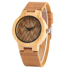 2017 Top Women's Fashion Wooden Watches Quartz Analog Genuine Leather Band Bamboo Handmade Clock Creative Gifts relogio feminino