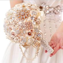 Luxury Wedding Bouquet Flowers Crystals Beading Pearls Artificial Bridal Bouquet Silk Rose Flowers Garden Church Beach Wedding(China)