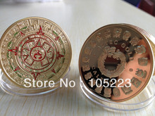 50pcs/lot DHL Free Shipping 1 OZ MINT MAYAN AZTEC GODS 24k .999 GOLD Clad COIN PROPHECY CALENDAR DOOMSDAY 2012(China)