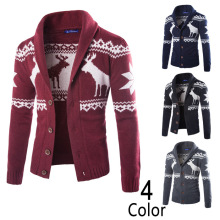 2017 Christmas sweater Winter new pullover Milu deer Men 's leisure cardigan Fashion collar Male Thickening Wool jacket(China)
