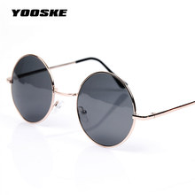 YOOSKE Vintage Round Sunglasses female male Men Sun Glasses Mirror Eyewear Sunglasses Women Brand Designer UV400 G