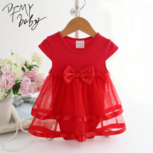 NewBorn Baby Dress Summer Cotton Bow Baby Rompers For girls Summer Kids Infant Clothes Baby Girls Jumpsuit(China)