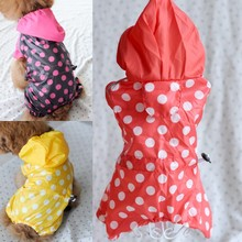 2016 New Dog Raincoat Four Legs Polka Dot Dog Pet Clothes Yellow Black Red Free Shipping