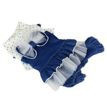 Bow Mesh Dot Puppy Dress Four Legs To Wear Denim Skirt Summer Pet Dog Clothes Pet Clothes Supplies Jean Skirt