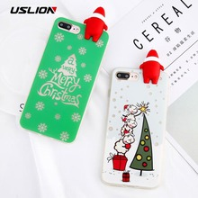 USLION Phone Case For iPhone 7 7 Plus Cute 3D Santa Claus Christmas Tree Sock Back Cover Soft TPU Cases Coque For iPhone7 Plus