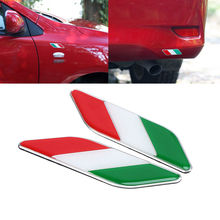 2X Auto 3D Italy Italian Flag Emblem Badge Decal Sticker Car Fender Styling For Ferrari Fiat Panda Kia VW Golf Polo Ford Chevys(China)