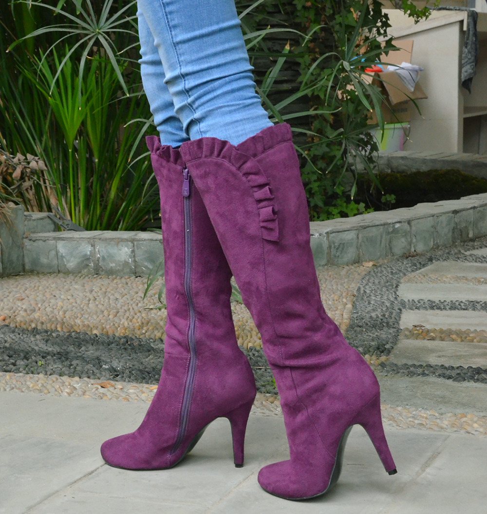 Shofoo  Women Purple Knee High Zip Winter Round Toe High Heels Boots Shoes for Woman, botas botines zapatos mujer size 5-16<br><br>Aliexpress