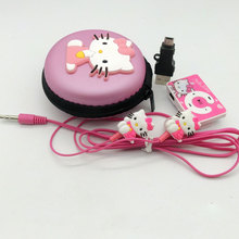 2016 new Mini Hello Kitty MP3 Music Player Clip MP3 Players Support TF Card With Hello Kitty Earphone cable and bag