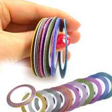 12 Color Mix Laser 3D Nail Art Striping Tape Line Sticker 1mm Rolls Glitter DIY Nail Decorations Tips Manicure TRNC392
