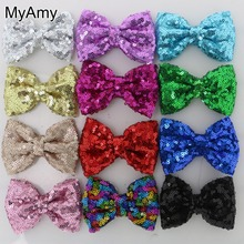 MyAmy Free Shipping 40pcs/lot 3.5'' sequin bows glitter embroidered boutique hair bow for girls teens children kids toddlers(China)
