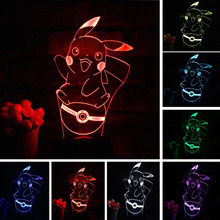 LED Sleep Kid Light Decoration for home Pikachu 3D 7 Color Lamp Pokemon Go Action Figure LED Holiday Christmas Gifts Night Light