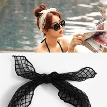 New Fashion Polyester Headbands Hairband Bohemian Bunny Lace Beach Vacation Woman Sex Hair Band Beige Black 1Piece(China)