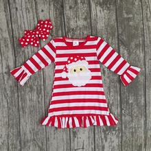 new Christmas fall/winter baby girls cotton outfits red striped ruffle dress Santa children clothes boutique match accessories(China)