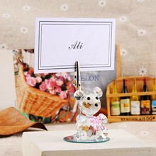 Pink Crystal Bear Place Card Holder 8PCS/LOT Wedding baby shower party picture name holder frame