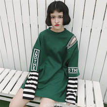 New Harajuku Fake Two Piece Women T-Shirt Korean Ulzzang Striped Graphic Tops 2017 Oversize Funny Female Loose White Tee wj1205