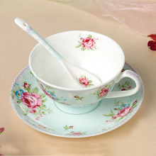 High-grade Ceramic Flower Tea Cups Bone China Coffee Cups And Saucers With Spoon Porcelain