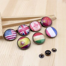 fashion vintage National flag pattern round Snap button 28mm DIY Handmade Sewing quilt decoration Bag accessories 7pcs/lot(China)