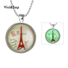 Visisap Statement Necklaces For Women Eiffel Tower Vintage Female Necklace Gold Color Beads Chains Jewelry Wholesaler VYGN084(China)