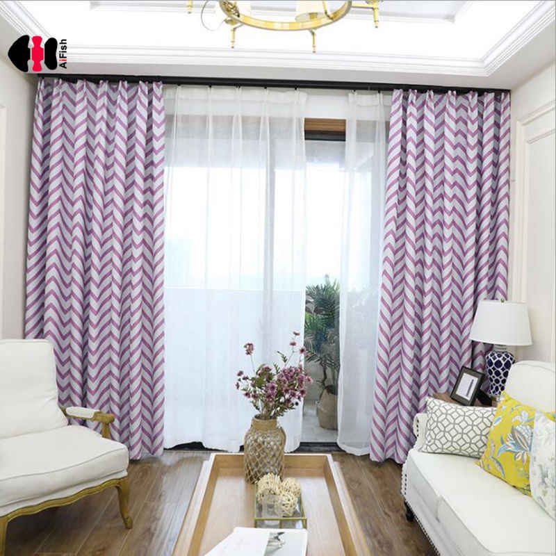Violet Corrugated Geometric Printed Curtains Modern Simple Chinese Blackout Bedroom Living Room Window Drape Panels L034C