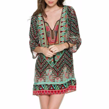 Xinbeauty 2017 Casual Bohemian Dress Long Sleeve Chiffon Autumn Geometric Printed Indian Mini Loose Vintage 50s 60s Dresses(China)
