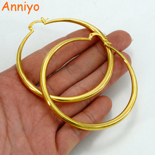 Anniyo 6CM Africa Hoop Earrings for Women Gold Color and Copper Round Earring Ethiopian Jewelry,Nigeria,Congo,Arab Gift #060306