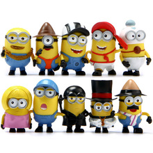 (10pcs/lot) Minion Miniature Figurines Toys Cute Lovely Model Kids Toys 6.5cm PVC Anime Children Figure 170723(China)