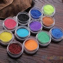 Hot 12 Colors Nail Art Decoration Metal Powder Glitter Dust Set For UV Gel Acrylic 7CUD A4X2(China)