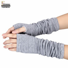 FEITONG Wholesale Practical Design Tactical Gloves Unisex Winter Wrist Arm Hand Warmer Knitted Long Fingerless Mitten guantes#15