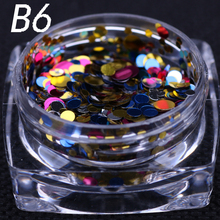 12 colors 1g/ box Nail Art Glitter ROUND Shapes Confetti Sequins Acrylic Tips UV Gel B Style Nail Art Metal Wheel