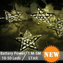 40LED Metal led falling star light Christmas Light Wedding Decoration String Lights Battery Operated outdoor festoon lights