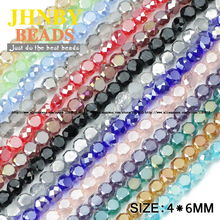 JHNBY Bread shape Austrian crystal beads 50pcs 4*6mm Matte glass Flat Round Loose beads for jewelry making bracelet Accessories