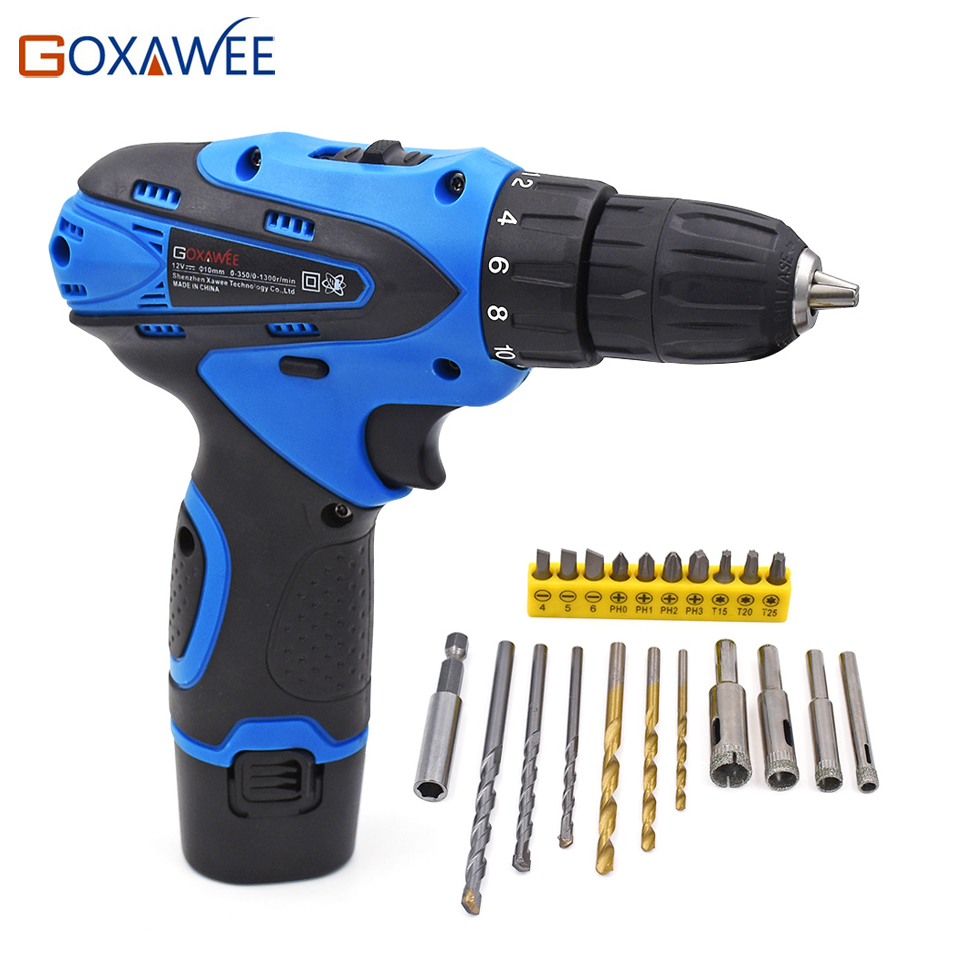 GOXAWEE Electric Screwdriver Drill 12V Two Speed Cordless Battery Rechargeable Screwdriver Set With 21pcs Screwdriver Drill Bits<br>