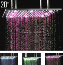 Retail - 20 Inch Stainless Steel Led Lighting Shower Head, Color Changed without Battery, Free Shipping X15401