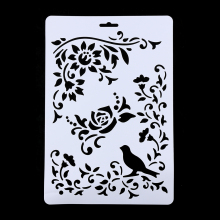 1Pc Bird Vine Flower Layering Stencils For Walls Painting Scrapbooking Stamps Album Decorative Embossing Paper Cards DIY Craft