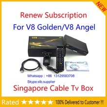 Send Immeditely! Renew Yearly v8 golden/v8 angel watch all hd channels starhub box set top box Singapore Cable TV black box